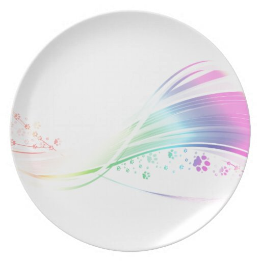 Arco iris de Pawprint Plato Para Fiesta
