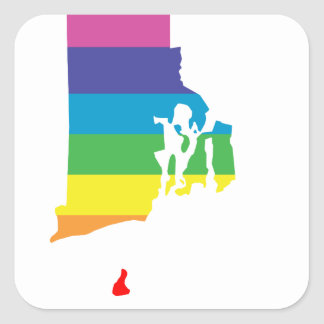 arco iris de Rhode Island Pegatina Cuadrada