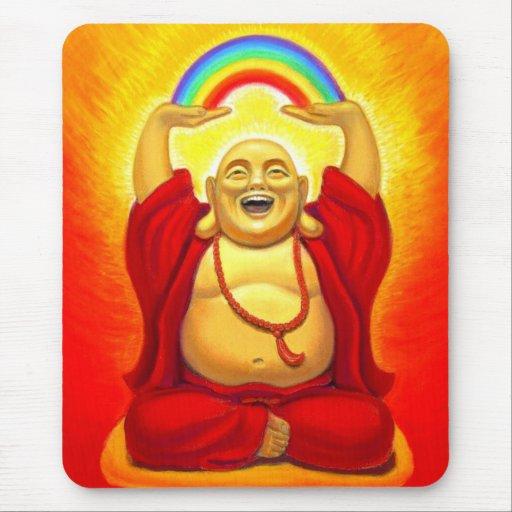 Arco iris de risa Buda Mousepad Tapete De Ratones