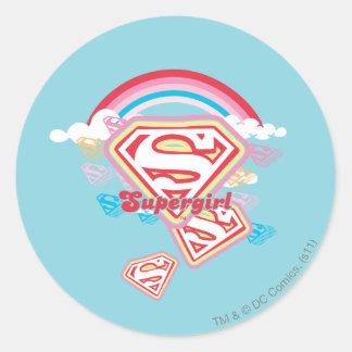 Arco iris de Supergirl Pegatina Redonda
