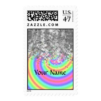 Arco iris de Swirly y falso brillo Timbre Postal