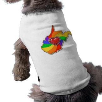Arco iris de Virginia Occidental Playera Sin Mangas Para Perro