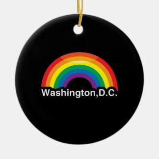 ARCO IRIS DE WASHINGTON D.C. LGBT PRIDE ADORNO REDONDO DE CERÁMICA