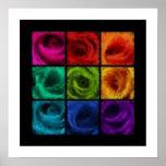 Arco iris del aceite de rosas póster