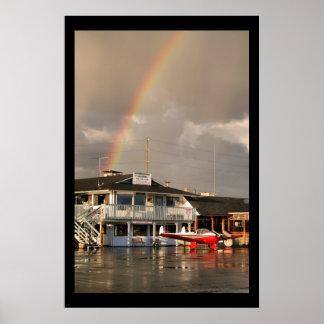 Arco iris del aeropuerto póster