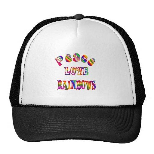 Arco iris del amor de la paz gorras