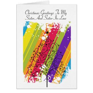 Arco iris del árbol de navidad tarjeta de felicitación