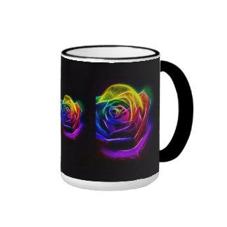 Arco iris del arte abstracto subió taza de dos colores