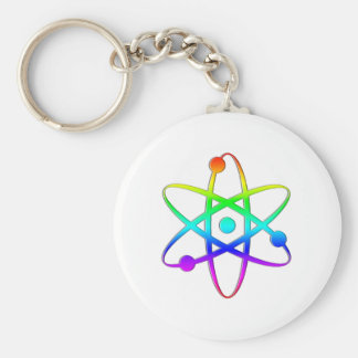 arco iris del átomo llavero redondo tipo pin