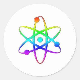 arco iris del átomo pegatina redonda