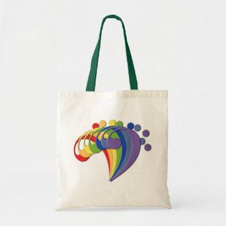 Arco iris del bajo de la fan bolsa tela barata