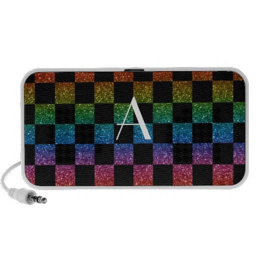 Arco iris del brillo del monograma y a cuadros neg iPhone altavoz