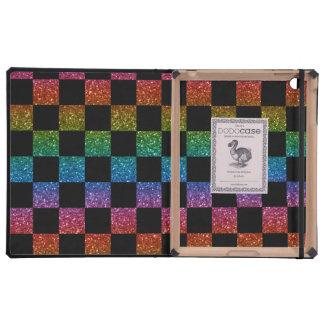 Arco iris del brillo y modelo a cuadros negro iPad carcasas