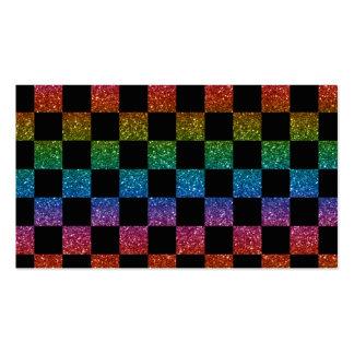 Arco iris del brillo y modelo a cuadros negro tarjeta de visita