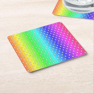 arco iris del caramelo de muchas estrellas posavasos de cartón cuadrado
