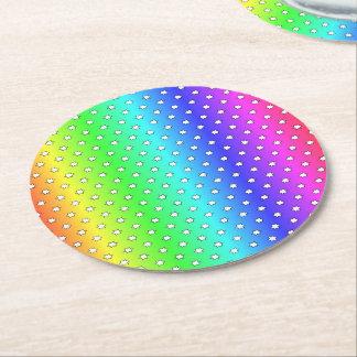 arco iris del caramelo de muchas estrellas posavasos de cartón redondo