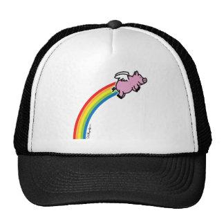 Arco iris del cerdo del vuelo gorras