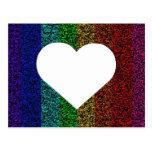 Arco iris del corazón tarjetas postales