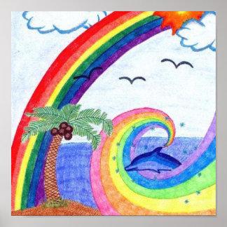 Arco iris del delfín póster