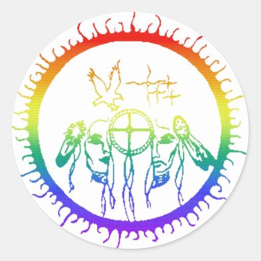 Arco iris del Dos-Alcohol Pegatinas Redondas