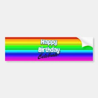 Arco iris del feliz cumpleaños - celebre a la pega pegatina para auto