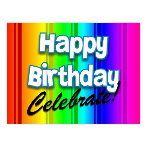 Arco iris del feliz cumpleaños - celebre tarjetas postales