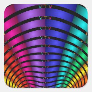 Arco iris del fractal pegatina cuadrada