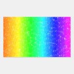 Arco iris del garabato rectangular pegatinas