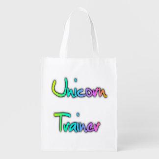 Arco iris del instructor del unicornio bolsas de la compra
