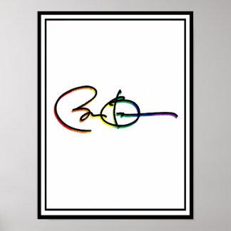 Arco iris del orgullo de Barack Obama de la firma Póster
