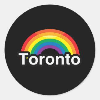 ARCO IRIS DEL ORGULLO DE TORONTO LGBT ETIQUETA REDONDA