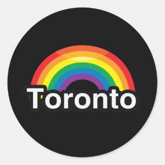 ARCO IRIS DEL ORGULLO DE TORONTO LGBT PEGATINAS REDONDAS
