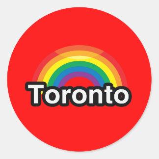 ARCO IRIS DEL ORGULLO DE TORONTO LGBT PEGATINA REDONDA