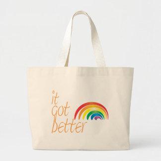 Arco iris del orgullo gay de la tolerancia bolsa tela grande