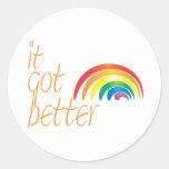 Arco iris del orgullo gay de la tolerancia pegatinas redondas