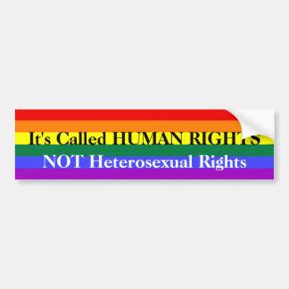 Arco iris del orgullo gay de los derechos humanos pegatina de parachoque