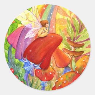 Arco iris del otoño pegatina redonda