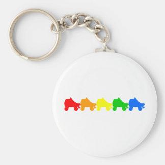 arco iris del patín de ruedas llavero redondo tipo pin