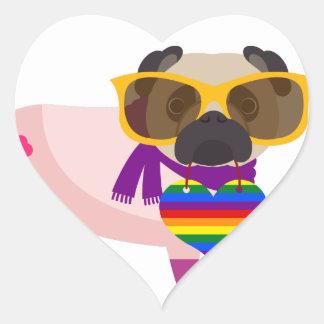 Arco iris del perro del barro amasado de Stylin Pegatina En Forma De Corazón