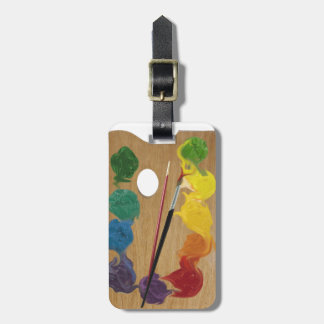 Arco iris del rectángulo de la paleta del artista etiquetas de equipaje
