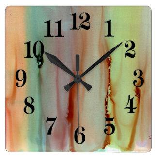 Arco iris del reloj de pared cuadrado de los