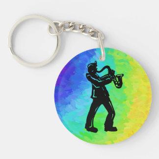 Arco iris del saxofón de las noches de la boogie llavero redondo acrílico a una cara