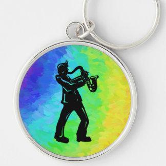 Arco iris del saxofón de las noches de la boogie llavero redondo plateado