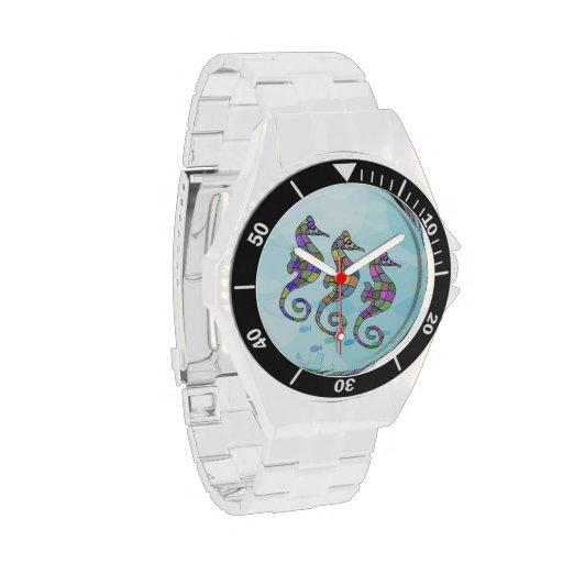 Arco iris del Seahorse Reloj De Mano
