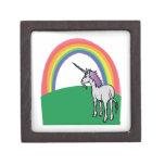 Arco iris del unicornio caja de recuerdo de calidad