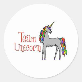 Arco iris del unicornio del equipo pegatinas redondas