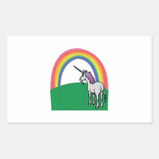 Arco iris del unicornio pegatina rectangular