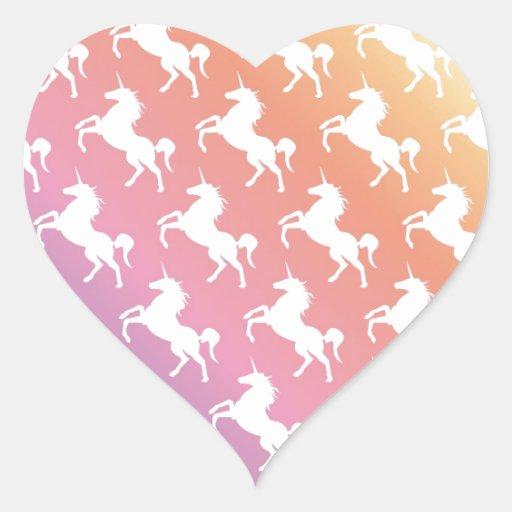 Arco iris del unicornio colcomanias corazon personalizadas