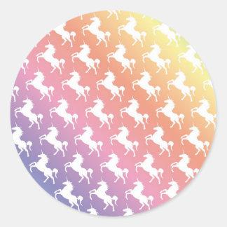 Arco iris del unicornio pegatina redonda