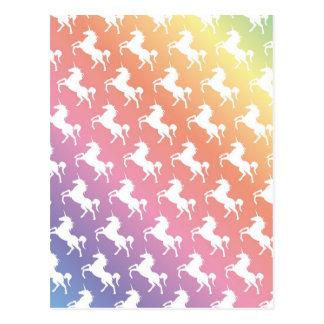 Arco iris del unicornio tarjeta postal
